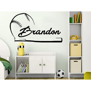 Boy Name Baseball ball Sport Sticker Personalized Name Nursery Kids Custom Name Vinyl  Sticker Decal size 33x45 Color Black