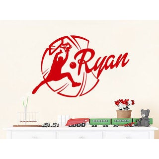 Basketball Ball Sportsman Sport Sticker Personalized Name Nursery Baby Kids Custom Name Sticker Decal size 22x26 Color Red