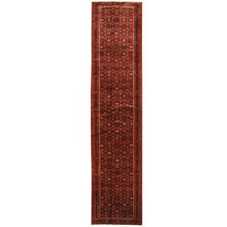 Herat Oriental Persian Hand-knotted Hamadan Wool Runner (3'2 x 13'7)