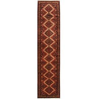 Herat Oriental Persian Hand-knotted Hamadan Wool Runner (3' x 12'5)