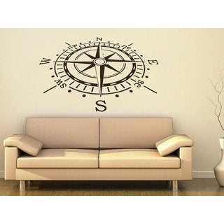 Compass Rose Nautical Vinyl Sticker Navigation Home Interior Sticker Decall size 44x60 Color Black