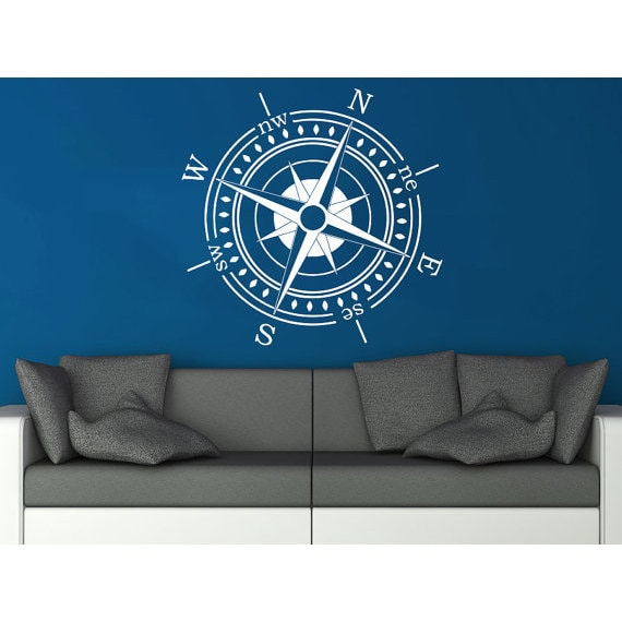Compass Rose Wall Decal Vinyl Sticker Decals Nautical Compass Navigate Ship  Ocean Sea Sticker Decal Size 22x22 Color White