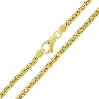 Yellow Goldplated Sterling Silver 4 mm Hollow Box Byzantine Chain Necklace