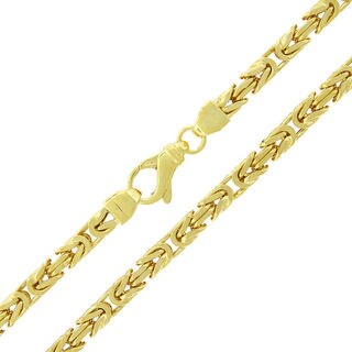 Yellow Goldplated Sterling Silver 5 mm Hollow Box Byzantine Chain Necklace
