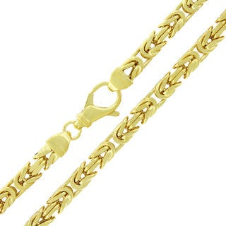 Yellow Goldplated Sterling Silver 6 mm Hollow Box Byzantine Chain Necklace