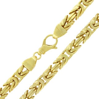 Yellow Goldplated Sterling Silver 7.5 mm Hollow Box Byzantine Chain Necklace
