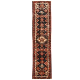 Herat Oriental Persian Hand-knotted Hamadan Wool Runner (3' x 12'7)