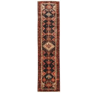 Herat Oriental Persian Hand-knotted Hamadan Wool Runner (3' x 12'7) - 3' x 12'7
