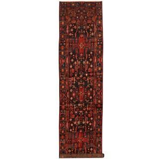 Herat Oriental Persian Hand-knotted Hamadan Wool Runner (3'10 x 16'8)