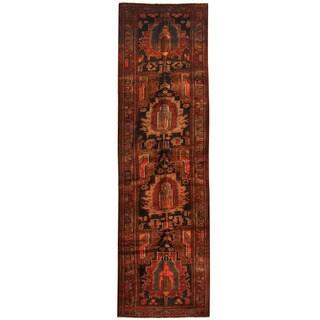 Herat Oriental Persian Hand-knotted Hamadan Wool Runner (4' x 13'10)