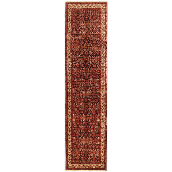Handmade Herat Oriental Persian Hamadan Wool Runner (Iran) - 3'6 x 14'