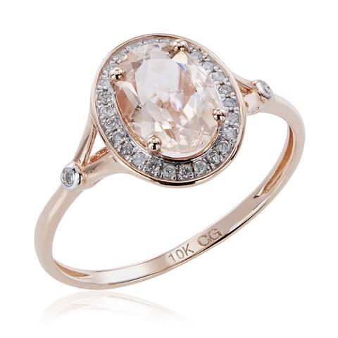 10K Rose Gold 1.21ct TW Morganite and Diamond Split Shank Ring (G-H, I2-I3) - Pink