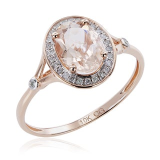 10K Rose Gold 1.21ct TW Morganite and Diamond Split Shank Ring (G-H, I2-I3) - Pink