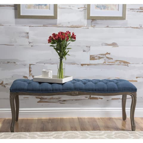 Tassia Traditional Button Tufted Fabric Bench by Christopher Knight Home