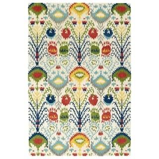 Hand-Tufted de Leon Ivory Ikat Rug (2' x 3')