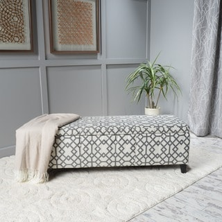 Cleo Geometric Fabric Storage Ottoman Bench by Christopher Knight Home