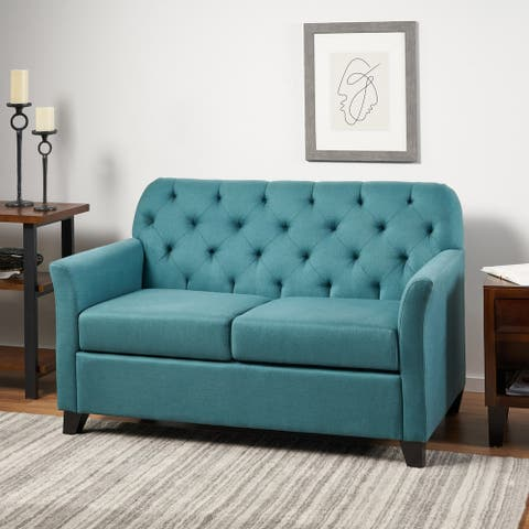 Jessup Tufted Polyester Fabric Loveseat Sofa by Christopher Knight Home