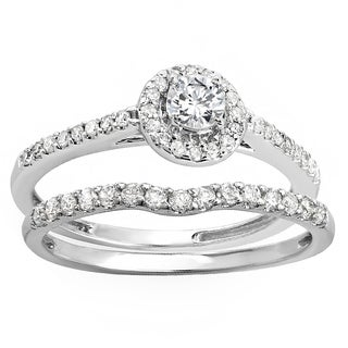 Sterling-silver 1.167ct Round Cubic Zirconia Ladies Bridal Halo Engagement Ring With Matching Band Set