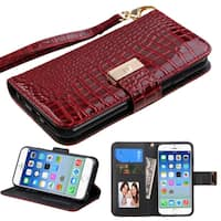 Insten Burgundy Leather Crocodile Case Cover Lanyard with Stand/ Wallet Flap Pouch/ Photo Display For Apple iPhone 6/ 6s