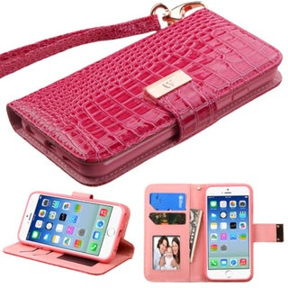 Insten Hot Pink Leather Crocodile Case Cover Lanyard with Stand/ Wallet Flap Pouch/ Photo Display For Apple iPhone 6/ 6s