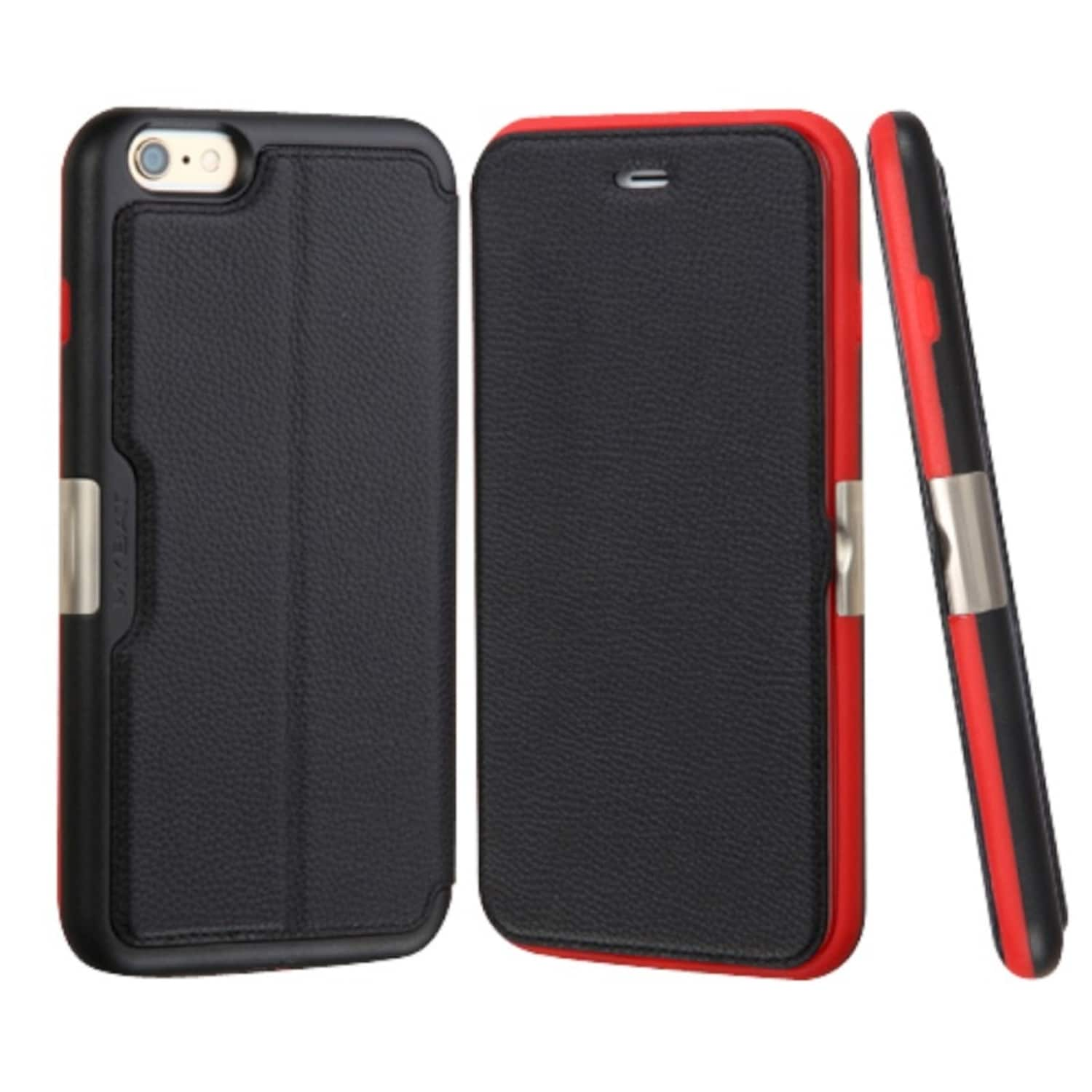 Insten Black/ Red Leather Case Cover with Wallet Flap Pou...