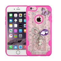 Insten Clear/ Hot Pink 3D Butterfly Hard Snap-on Crystal Case Cover with Diamond For Apple iPhone 6 Plus/ 6s Plus