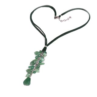 Sterling Silver 15.55ct Green Aventurine Beaded Necklace