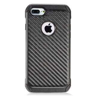 Insten Black Carbon Fiber Hard Snap-on Dual Layer Hybrid Case Cover For Apple iPhone 7/ 7 Plus