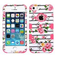 Insten Pink/ White Roses Tuff Hard PC/ Silicone Dual Layer Hybrid Rubberized Matte Case Cover For Apple iPhone 5/ 5S/ SE