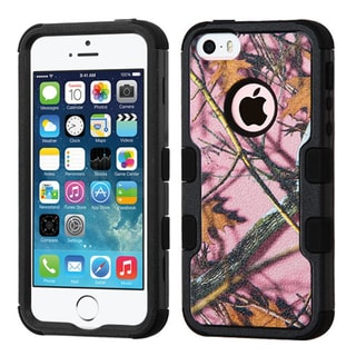 Insten Pink/ Black Oak-Hunting Tuff Hard PC/ Silicone Dual Layer Hybrid Rubberized Matte Case Cover For Apple iPhone 5/ 5S/ SE