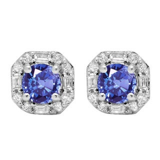 10k Gold 1 3/8ct TW Round Tanzanite and Diamond Accent Halo Stud Earrings (I-J, I1-I2 )