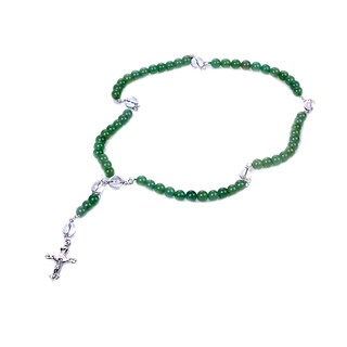 Sterling Silver 43.68 Ct Round Green Aventurine With Crystal Quartz Necklace