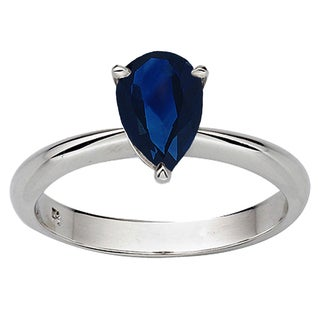 Sterling Silver 1 1/2ct TW Pear-cut Blue Sapphire Solitaire Bridal Ring