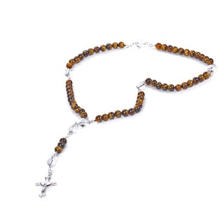 Sterling Silver 49.51 Ct Round Tiger Eye With Crystal Quartz Necklace