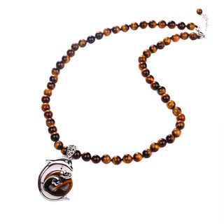 Sterling Silver Round Tiger-Eye Beaded Dolphin Pendant Necklace