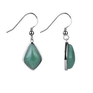 Sterling Silver 1.34 Ct Green Aventurine Cabochons Fancy-cut Earring