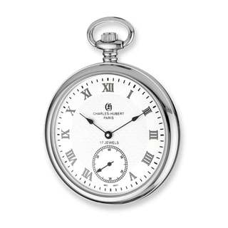 Charles Hubert Stainless Steel Men's Open Face White Dial Pocket Watch