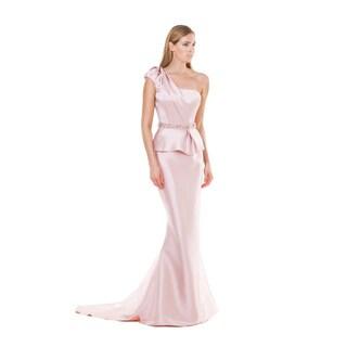 Terani Couture Women's Blush Pink Long Trumpet Evening Dress