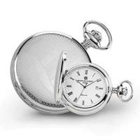 Charles Hubert Stainless Steel Men's Wave Design Pocket Watch