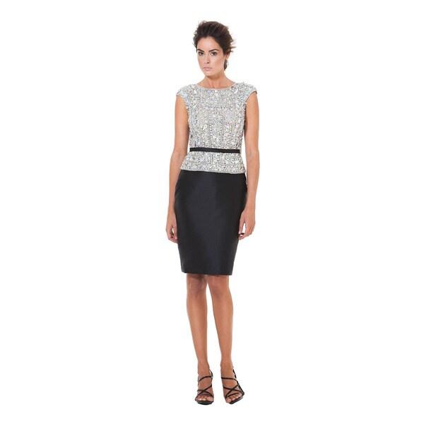 672f7c27d94e6 Terani Women's Black Satin and Crystal Short Cocktail Dress