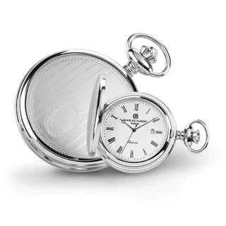 Charles Hubert Stainless Steel Men's Stripe Design Pocket Watch