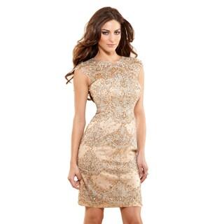 Terani Couture Women's Cap Sleeve Short Cocktail Dress