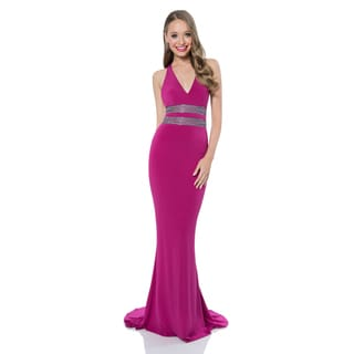 Terani Couture Women's Long V-neck Jersey Prom Gown