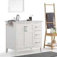 WYNDENHALL Salem 36-inch Left Offset Bath Vanity in White with White Quartz Marble Top