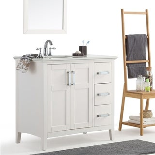 WYNDENHALL Salem 36 inch Contemporary Bath Vanity in Soft White with Bombay White Engineered Quartz Marble Top