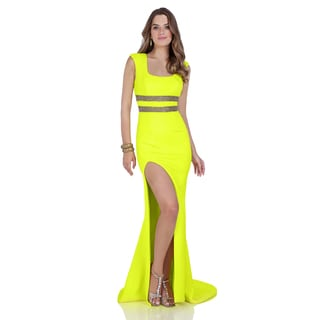 Terani Women's Yellow Neoprene Fitted Trumpet Gown