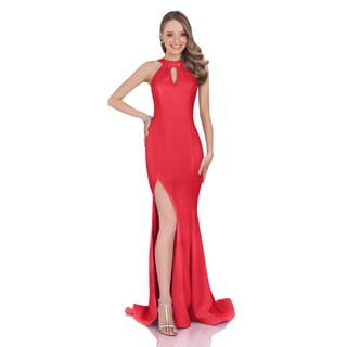 Terani Women's Stretch Crepe Halter Gown