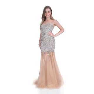 Terani Couture Women's Fully Beaded and Tulle Long Prom Gown