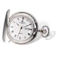 Charles Hubert Satin Finish Men's White Dial Day/Date Pocket Watch