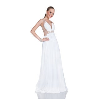 Terani Women's White Deep V-neck Beaded Long Gown